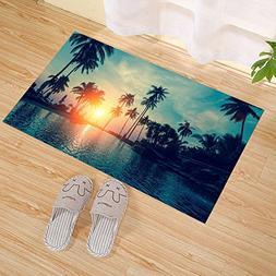 JANNINSE Tropical Beach Sunset Palm Tree Hotel Pool Beach Ch