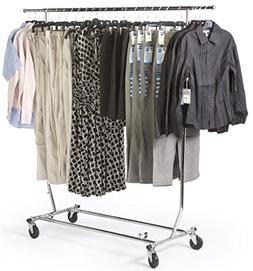 Tube Steel Rolling Clothes Rack, Adjustable And Collapsible
