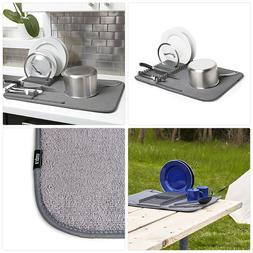 Umbra UDRY Drying Rack and Microfiber Dish Mat-Space-Saving