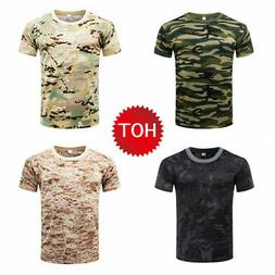 US Men MILITARY Camouflage T-Shirt Compression Short Sleeve