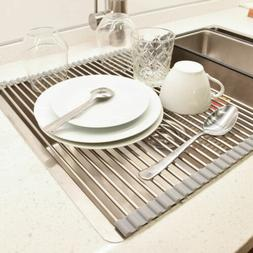 VEEAPE 304 Stainless Steel Roll-Up Over-the-Sink Dish Drying