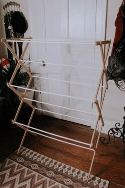 Vintage Wooden Collapsible Folding Clothes Drying Rack For L