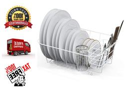 Dish Drying Rack Drainer Basket w/ Removable Steel Cutlery D