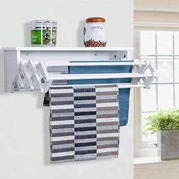 Tangkula Wall Mount Drying Rack Bathroom Home Expandable Tow