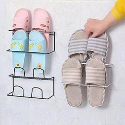 LONGPRO Wall Mounted 2 Tier Shoes Rack Slipper Shelf Storage