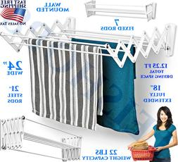 WALL MOUNTED DRYING RACK FOLDING CLOTHES TOWEL LAUNDRY INDOO