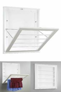 Wall Mounted Drying Rack, White, Clothes, Towels, Laundry Ha