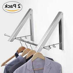 UTOVME Wall Mounted Foldable Clothes Rack Drying Hanger Adhe