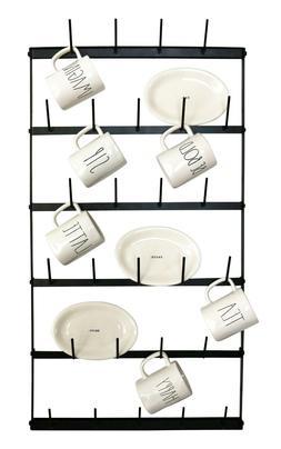 Metal Coffee Mug Rack - Large 6 Row Wall Mounted Storage Dis
