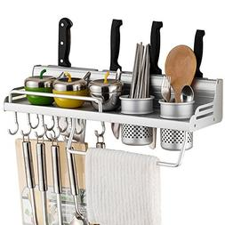 Wall Mounted Pot Pan Rack Multifunctional 6-in-1 Kitchen Boo