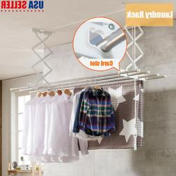 Wall Mounted Retractable Clothes Airer Laundry Rack Drying H