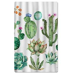 FSKDOM Watercolor Plants Cactus Quick Dry Antibacterial Ligh