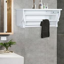 White Expandable Wooden Wall Mounted Drying Laundry Rack -NI