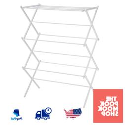 White Foldable Drying Rack Lightweight Steel Clothes Laundry