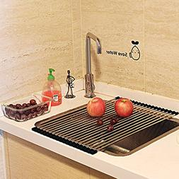 Wide Roll Up Dish Drying Rack Stainless Steel Drying Mat Fol
