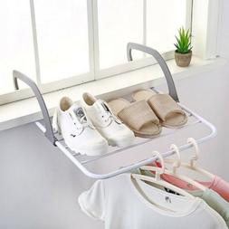 Window Folding Hanging Rack Storage Drying Holder Clothes To