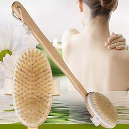 2PCs Wood Bath Brush Back Body Long Handle Shower Soft Dry S