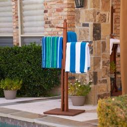 Natural Wood Design Poolside & Spa Towel Rack