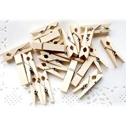 TOPmountain Wooden Clothespins 50 Pieces Mini Wooden Pegs Ph