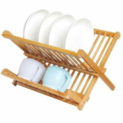 Wooden Dish Drying Rack Collapsible Compact Dish Rack Bamboo